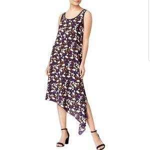 Anne Klein Floral Print Asymmetrical Casual Dress